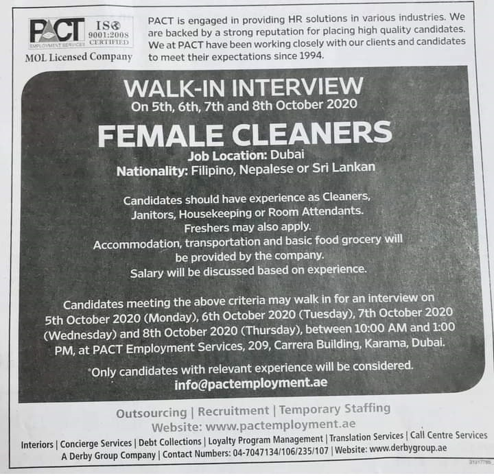 Walk-In Interview Dubai Pact HR solutions